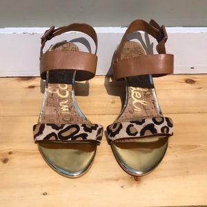 Sam Edelman Pony Hair Wedge Sandals Leopard size 8